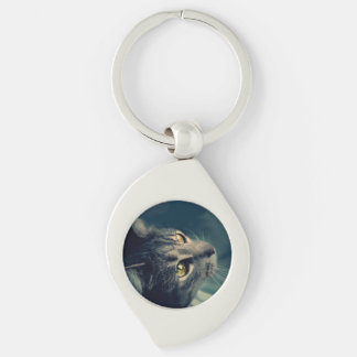 Vintage Yellow-Eyed Cat looking up Above Keychain