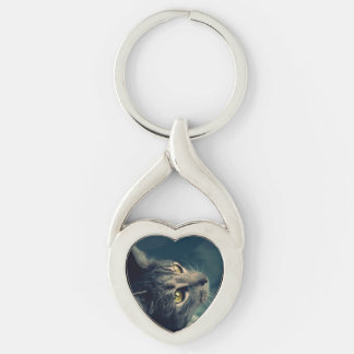 Vintage Yellow-Eyed Cat looking up Above Silver-Colored Heart-Shaped Metal Keychain