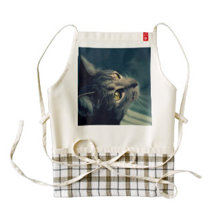 Vintage Yellow-Eyed Cat looking up Above Zazzle HEART Apron