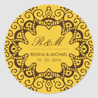 Vintage Yellow Floral Swirl Party Favor Sticker