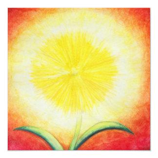 vintage yellow flower shining like a sun card