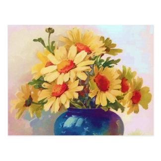 Vintage Yellow Flowers in Blue Vase Postcard