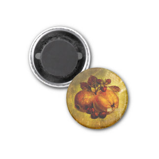 Vintage yellow fruit 1 inch round magnet