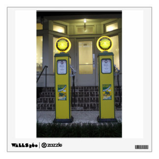 Vintage yellow gas pumps wall sticker
