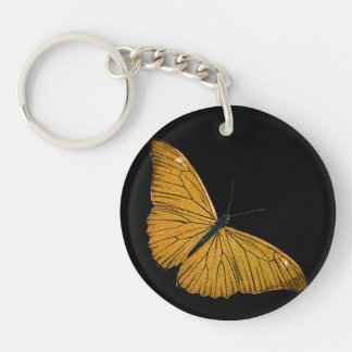 Vintage Yellow Gold Butterfly 1800s Illustration Keychain