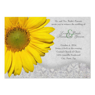 Vintage Yellow Gray Sunflower Wedding Invitation