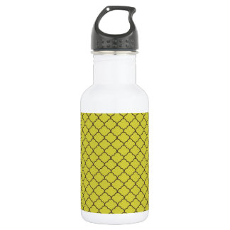 Vintage Yellow-Green and Brown Quatrefoil Pattern Water Bottle