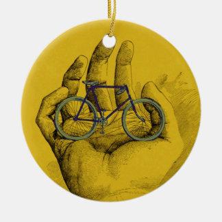 Vintage Yellow Hand Bicycle Humorous Bike Ceramic Ornament