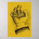 Vintage Yellow Hand Bicycle Humorous Bike Poster