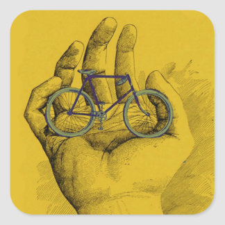 Vintage Yellow Hand Bicycle Humorous Bike Square Sticker