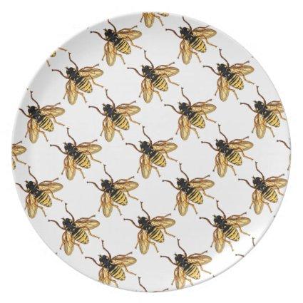 Vintage Yellow Honey Bee Dinner Plate