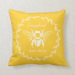 Vintage Yellow Honey Bee Laurel Honeycomb Monogram Throw Pillows