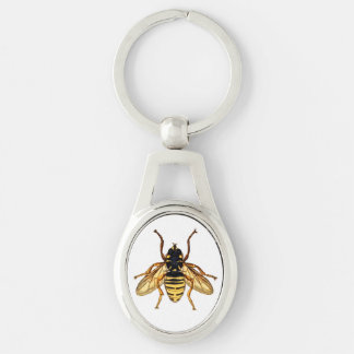 Vintage Yellow Honey Bee Silver-Colored Oval Metal Keychain