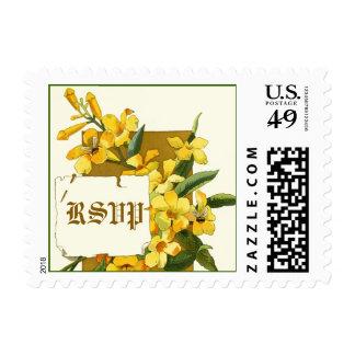 Vintage yellow jasmine flowers wedding RSVP stamp