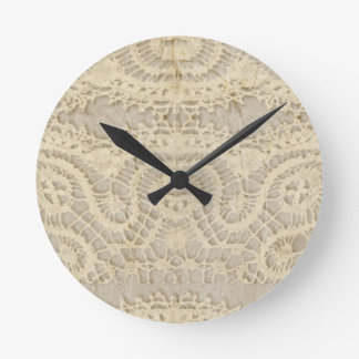 Vintage Yellow Lace Round Clock
