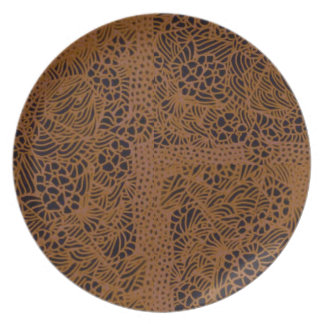 Vintage Yellow Ochre Floral Design Plates