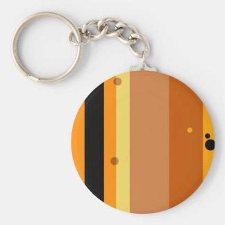 Vintage Yellow, Orange, Brown Dots Striped Pattern Basic Round Button Keychain