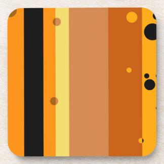 Vintage Yellow, Orange, Brown Dots Striped Pattern Drink Coasters