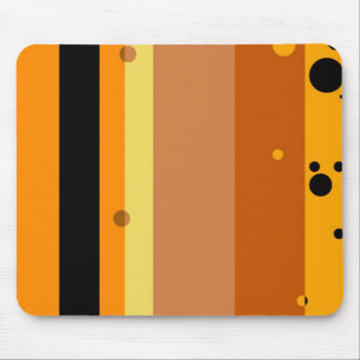 Vintage Yellow, Orange, Brown Dots Striped Pattern Mouse Pad