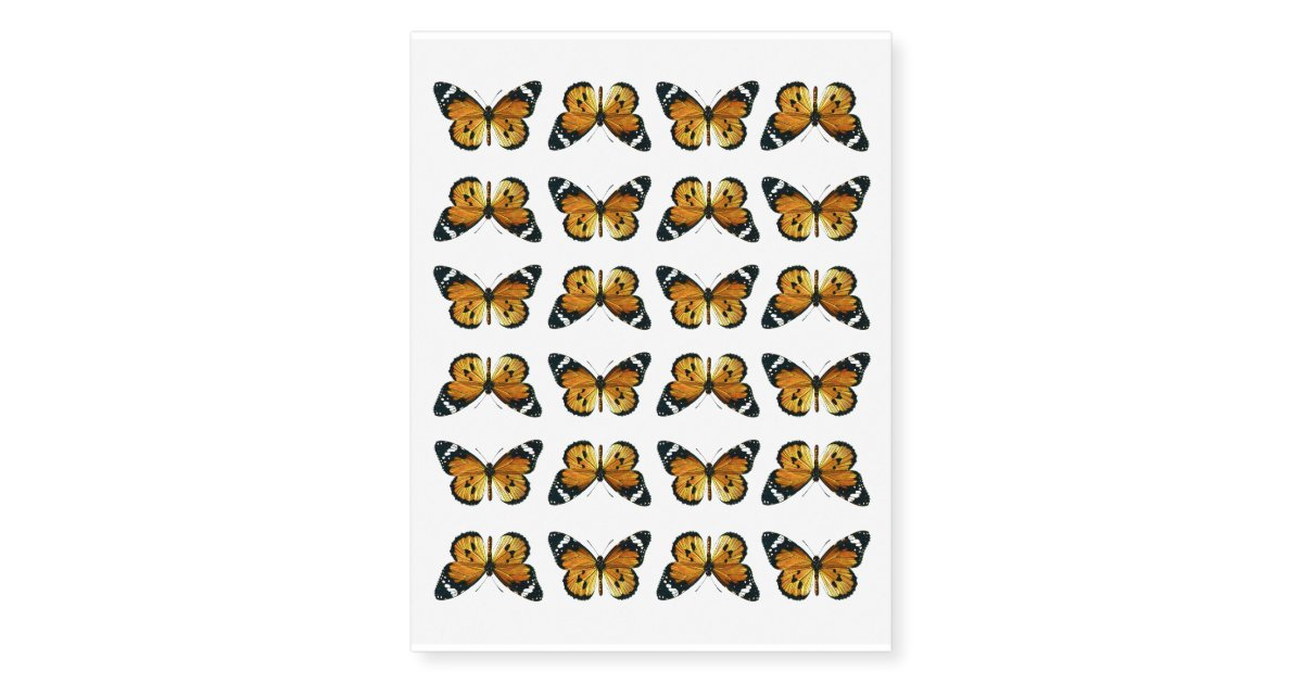 Vintage Yellow Orange Butterflies Small Temporary Tattoos Zazzle Com
