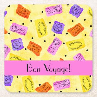 Vintage Yellow Passport Stamps Bon Voyage Square Paper Coaster