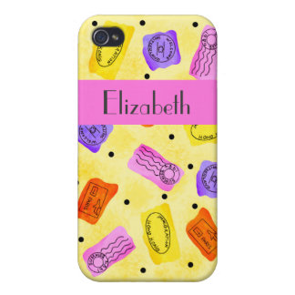 Vintage Yellow Passport Stamps Name Personalized Cover For iPhone 4