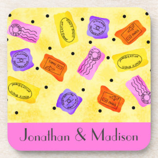 Vintage Yellow Passport Stamps Name Personalized Drink Coasters