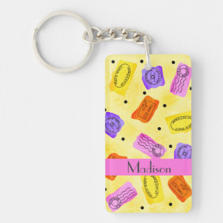 Vintage Yellow Passport Stamps Name Personalized Double-Sided Rectangular Acrylic Keychain