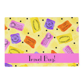 Vintage Yellow Passport Stamps Travel Bug Words Placemat