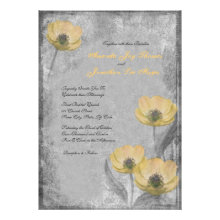 Vintage Yellow Poppies Wedding Invitations