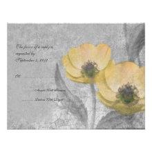 Vintage Yellow Poppies Wedding RSVP Custom Announcement