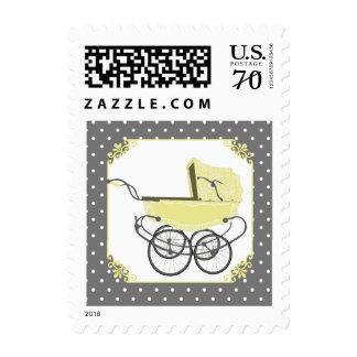 Vintage Yellow Pram Baby Shower Postage Stamp