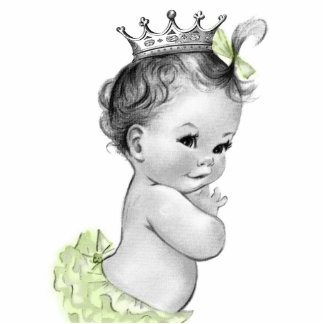 Vintage Yellow Princess Baby Girl Shower Statuette