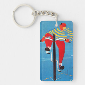 Vintage Yellow Red Blue Bicycle Boy Tire Advert Keychain