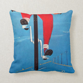 Vintage Yellow Red Blue Bicycle Boy Tire Advert Throw Pillow