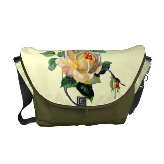 Vintage Yellow Rose Chabby Chic Rickshaw Messenger Courier Bags
