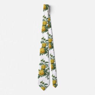 Vintage yellow rose painting tie