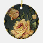 Vintage Yellow Roses Christmas Ornament