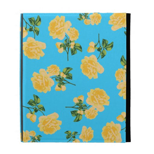 Vintage yellow roses floral case - blue iPad cases