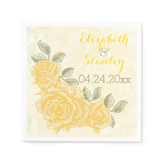 Vintage yellow roses floral wedding napkins