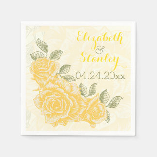 Vintage yellow roses floral wedding disposable napkin