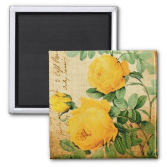 Vintage Yellow Roses magnet