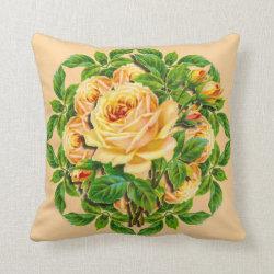 Vintage Yellow Roses Pillow Throw
