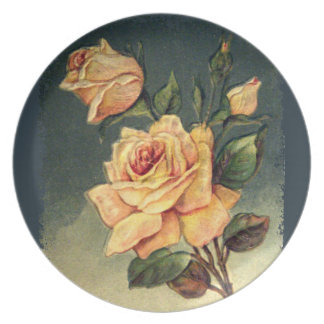 Vintage Yellow Roses Plate