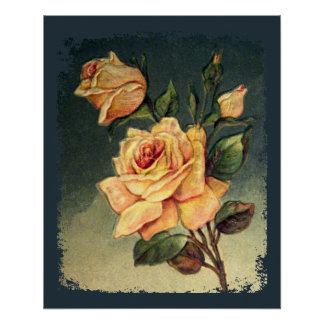 Vintage Yellow Roses Poster