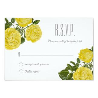 Vintage Yellow Roses RSVP Card