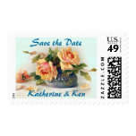 Vintage Yellow Roses Save the Date Wedding Postage