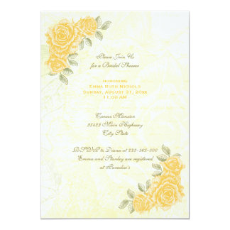 "Vintage yellow roses wedding bridal shower invite 5"" x 7"" invitation card"