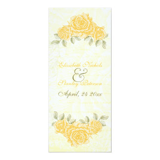 Vintage yellow roses wedding ceremony program card