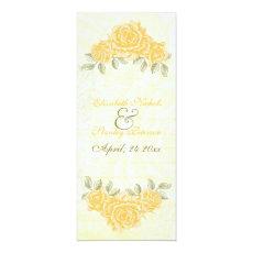 Vintage yellow roses wedding ceremony program card 4